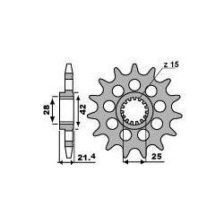 Pignon de sortie de boite PBR type 2150 / 15-16 Dents - Pas 525