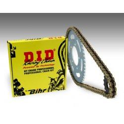 Kit chaine D.I.D KAWASAKI ZX-6R 05-06 (Chaine VX2 Renforcée - Pas 520 - Couronne Acier)