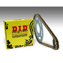 Kit chaine D.I.D KAWASAKI ZR 1100 ZEPHYR 91-97 (Chaine VX - Pas 530 - Couronne Acier)