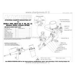 * DESTOCKAGE - Kit de fixation d'amortisseur de direction HYPERPRO BUELL XB12-X ULYSSES 05-07 (43mm) (Coloris OR)
