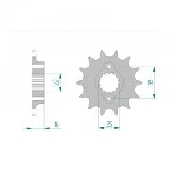 Pignon de sortie de boite AFAM type 52604 / 14-15 Dents - Pas 520